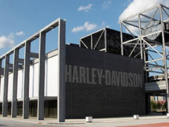 Harley-Davidson Museum,  June 17, 2008, M building, tower, sign, brick, wall