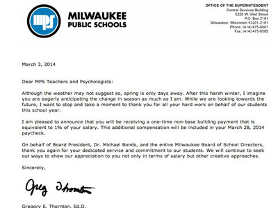 Teacher appreciation day or skirting collective bargaining school on monday milwaukee public schools teachers and school psychologists received a letter from outgoing superintendent gregory thornton notifying them that expocarfo